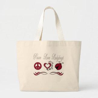 Mariquitas del amor de la paz bolsa tela grande