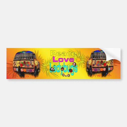 Mariquitas del amor de la paz pegatina de parachoque