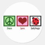 Mariquitas del amor de la paz etiqueta