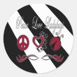 Mariquitas del amor de la paz etiquetas