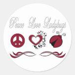 Mariquitas del amor de la paz etiquetas redondas
