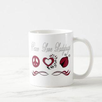 Mariquitas del amor de la paz taza