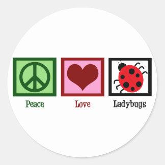 Mariquitas del amor de la paz etiqueta redonda