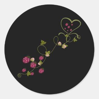 Mariquitas del amor pegatina redonda