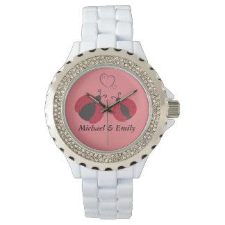 Mariquitas elegantes de moda lindas de los pares reloj de mano