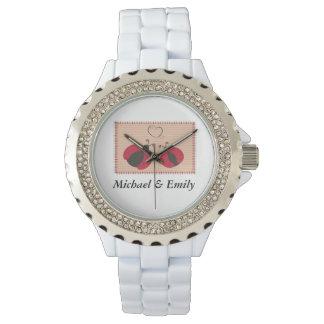 Mariquitas elegantes de moda lindas de los pares relojes de pulsera