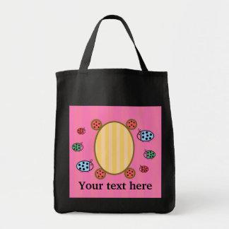 Mariquitas lindas en rosa bolsa tela para la compra