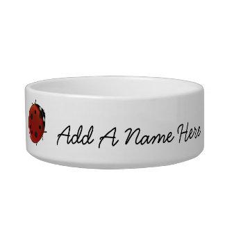 Mariquitas rojas lindas personalizadas comedero para mascota