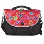 Mariquitas y flores retras bolsas de portatil