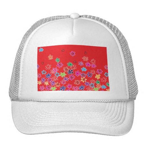 Mariquitas y flores retras gorra