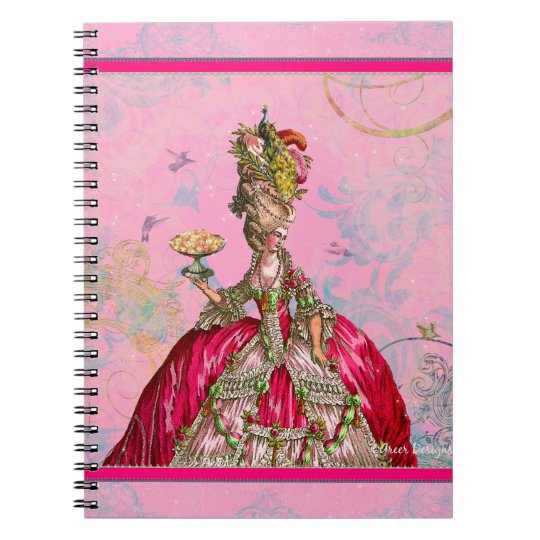 Maris Antoinette & Peacock in Pink Spiral Notebook