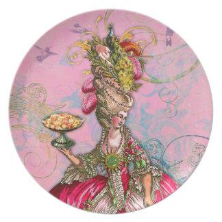 Maris Antonieta y pavo real en rosa Platos De Comidas