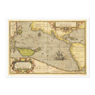 Maris Pacifici 1589 by Abraham Ortelius Canvas Print