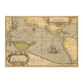 Maris Pacifici by Abraham Ortelius 1589 Canvas Print