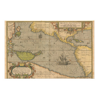 Maris Pacifici by Abraham Ortelius 1589 Stationery