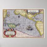 Maris Pacifici by Abraham Ortelius Vintage Map Posters