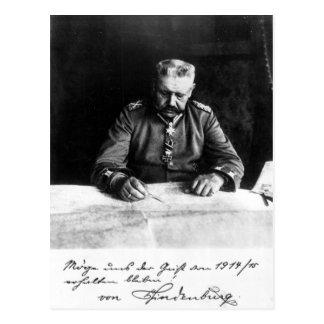 Mariscal Paul von Hindenburg 1914 Tarjeta Postal