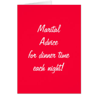 MARITAL ADVICE COOKING DINNER FOR 1st ANNIVERSARY Card