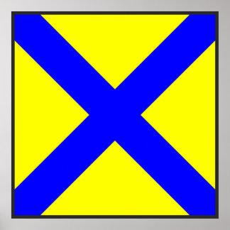 maritime alphabet signal flag number five 5 letter poster