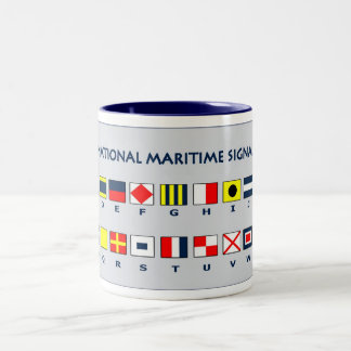 Maritime flags Two-Tone coffee mug