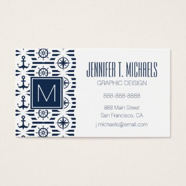 Beach Themed Maritime In Blue Pattern Business Card