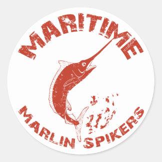 Maritime Marlin Spikers Classic Round Sticker