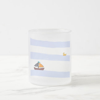 MARITIME NAVY COFFEE MUG/CUP FROSTED FROSTED GLASS COFFEE MUG