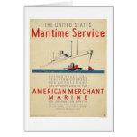 Maritime Service - Large Ship with Tugboats - WPA Card