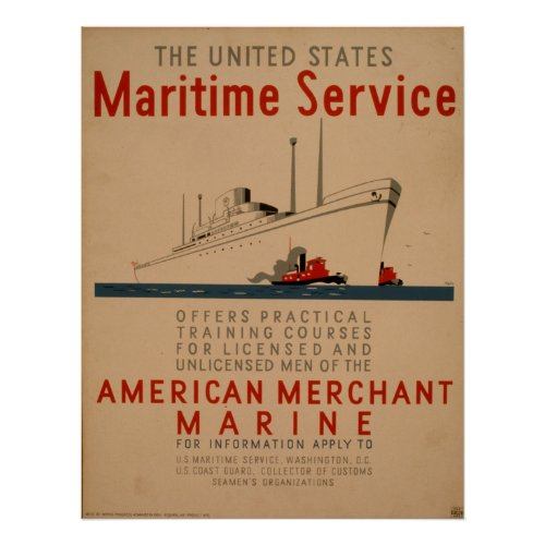 Maritime Service Large Ship With Tugboats WPA