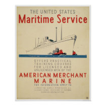 Maritime Service - Large Ship with Tugboats - WPA Poster