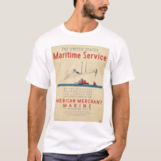 Maritime Service - Large Ship with Tugboats - WPA T-Shirt