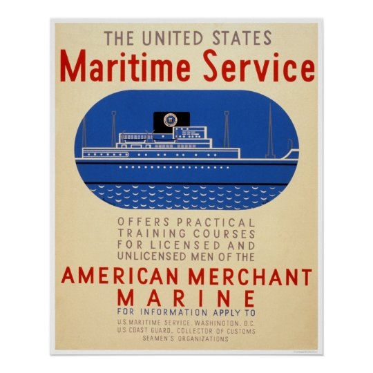 Maritime Service - Side View of Ship - WPA Poster