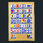 "Maritime Signal Code Flags Hand Towel<br><div class=""desc"">Nautical Sign Code Flags Kitchen Towel. Nautical signal flags A (Alfa) to Z (Zulu) and fully customizable texts &quot;Fair winds &amp; following seas&quot; (nautical saying for good voyage) and personalizable side texts &quot;International Nautical Signal Code Flags&quot; nautical towel. A beautiful sail gift for a boat captain, marine watersports fans and...</div>"