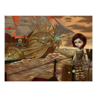 Maritime Sunset - Steampunk Pirates Art Print