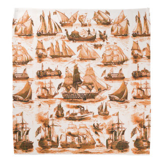 MARITIME,VINTAGE SHIPS,SAILING VESSELS,Brown White Bandana