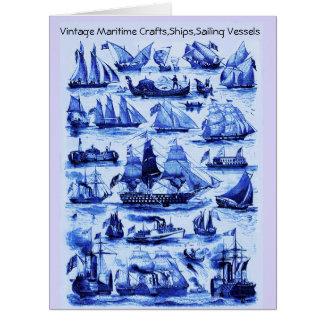MARITIME,VINTAGE SHIPS,SAILING VESSELS ,Navy Blue Card