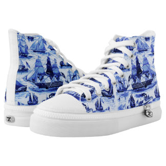 MARITIME,VINTAGE SHIPS,SAILING VESSELS,Navy Blue High-Top Sneakers