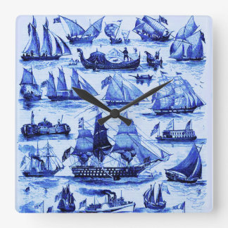 MARITIME,VINTAGE SHIPS,SAILING VESSELS,Navy Blue Square Wall Clock