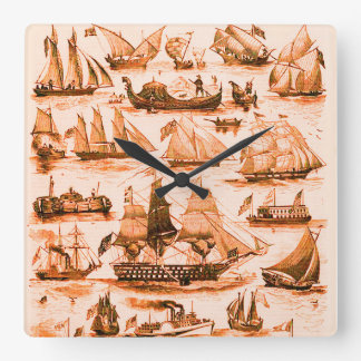 MARITIME,VINTAGE SHIPS,SAILING VESSELS,Sepia Brown Square Wall Clock