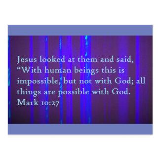Mark 10:27 Scripture Post Card