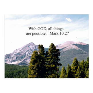 Mark 10:27 With God, all things are possible. Postcard