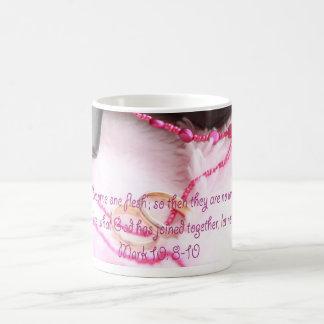 Mark 10:8-10 Pink Mug for Wedding and Anniversary
