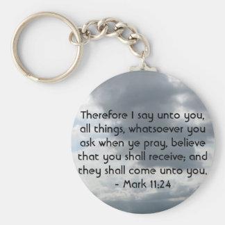 Mark 11:24 - Faith Basic Round Button Keychain