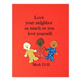 Mark 12:31 Love your neighbor as much as you love Letterhead