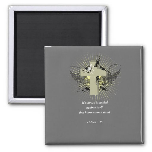 MARK 3:25 Bible Verse 2 Inch Square Magnet
