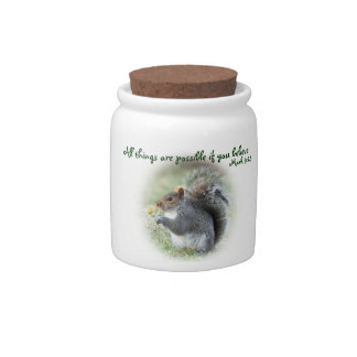 Mark 9:23Smiling Squirrel with Daisy Candy Jars