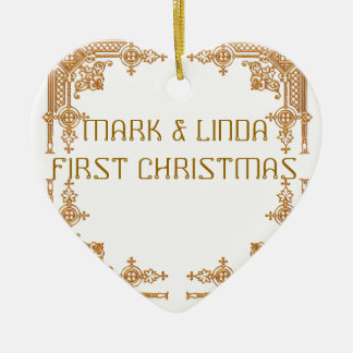 MARK AND LINDA FIRST CHRISTMAS Double-Sided HEART CERAMIC CHRISTMAS ORNAMENT
