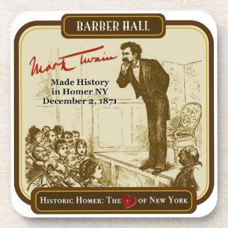 Mark Twain Barber Hall 1871 Homer NY Coaster Set