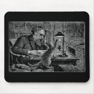 Mark Twain in the Library with His Cat Mouse Pad