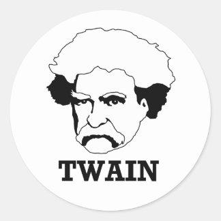 Mark Twain Pegatina Redonda